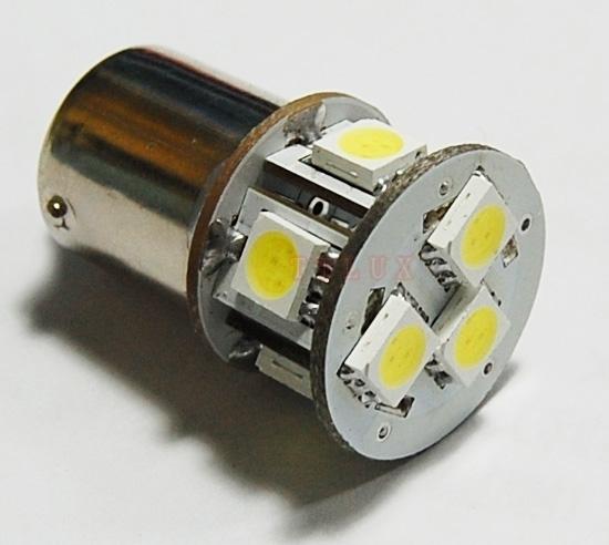 BA15S LED 8-SMD 5050 - 12V LED lamp WIT - ABC-led.nl