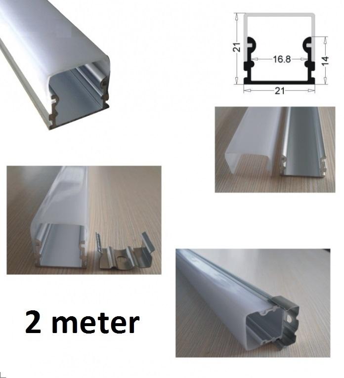 Led profiel 2 meter 14mm large aluminium profiel for Bureau 2 meter