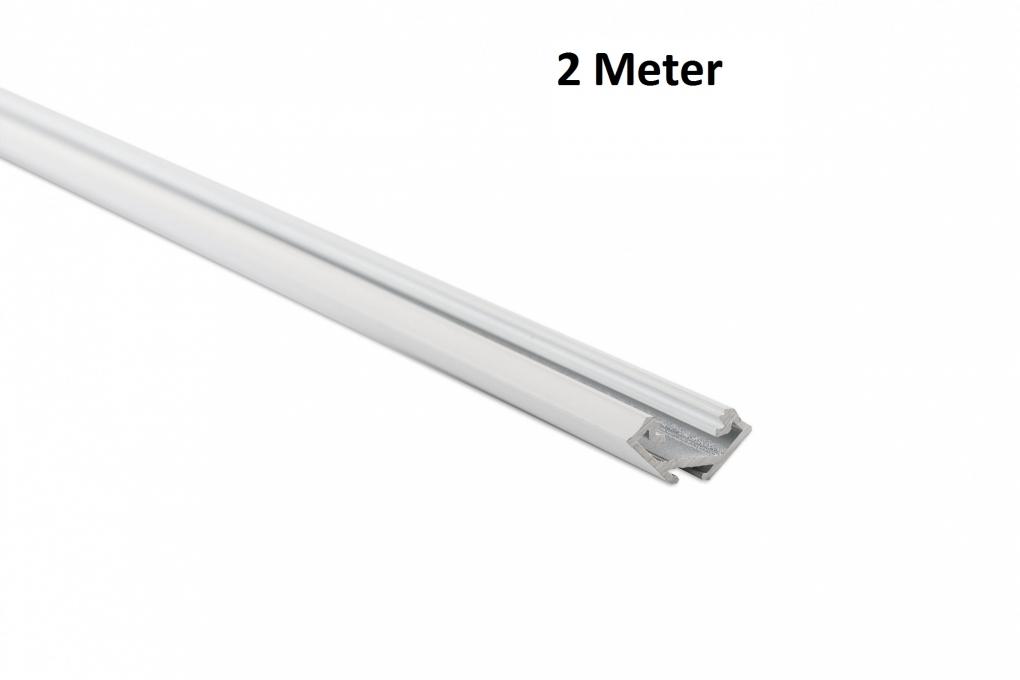 Led profiel 2 meter 23mm hoek design c wit aluminium for Bureau 2 meter